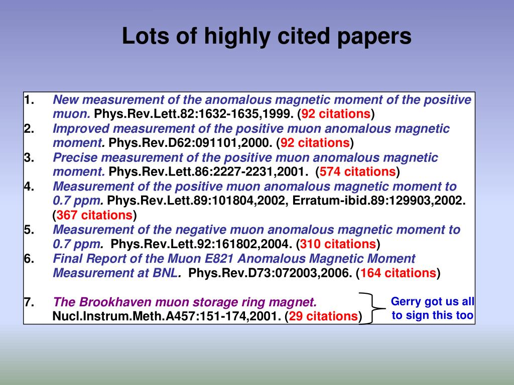 Lots of highly cited papers