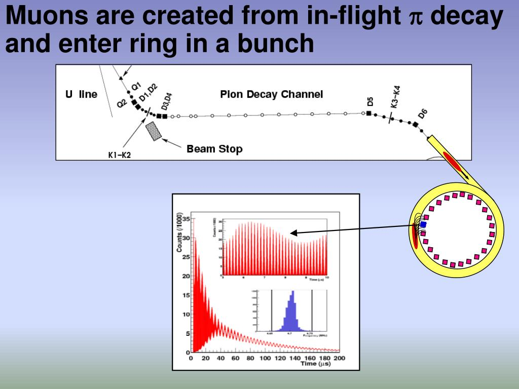 Muons are created from in-flight