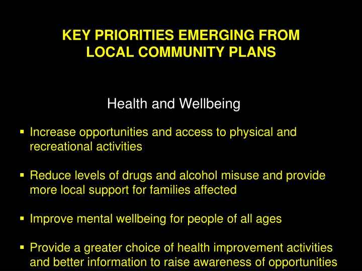 KEY PRIORITIES EMERGING FROM