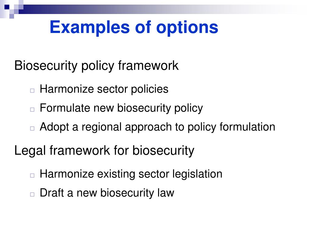 Examples of options