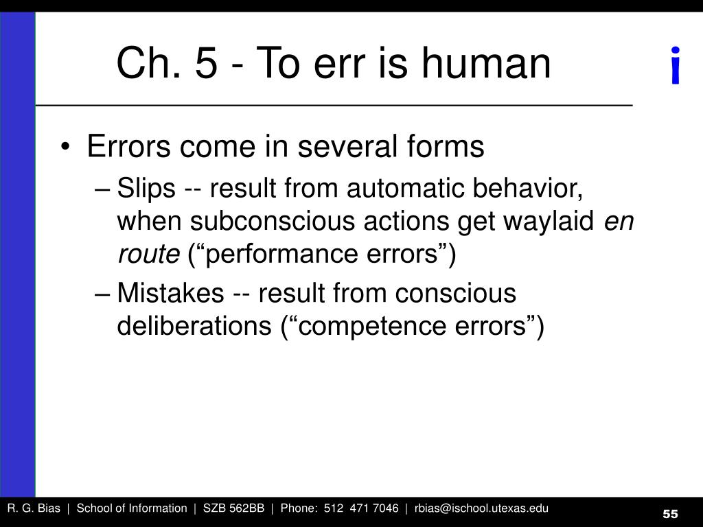 Ch. 5 - To err is human