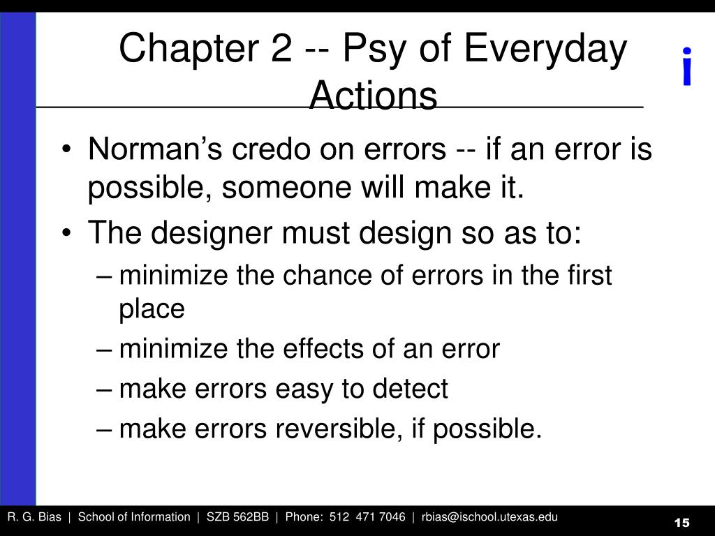 Chapter 2 -- Psy of Everyday Actions