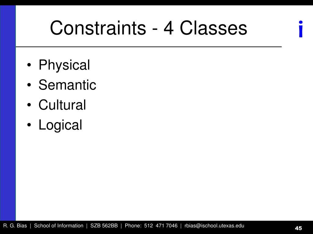 Constraints - 4 Classes