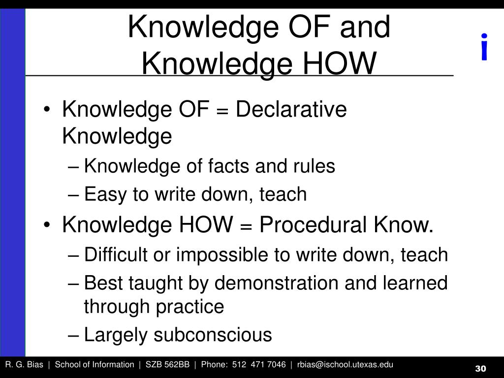 Knowledge OF and Knowledge HOW