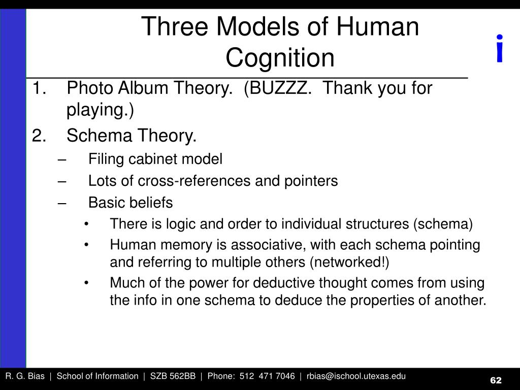 Three Models of Human Cognition