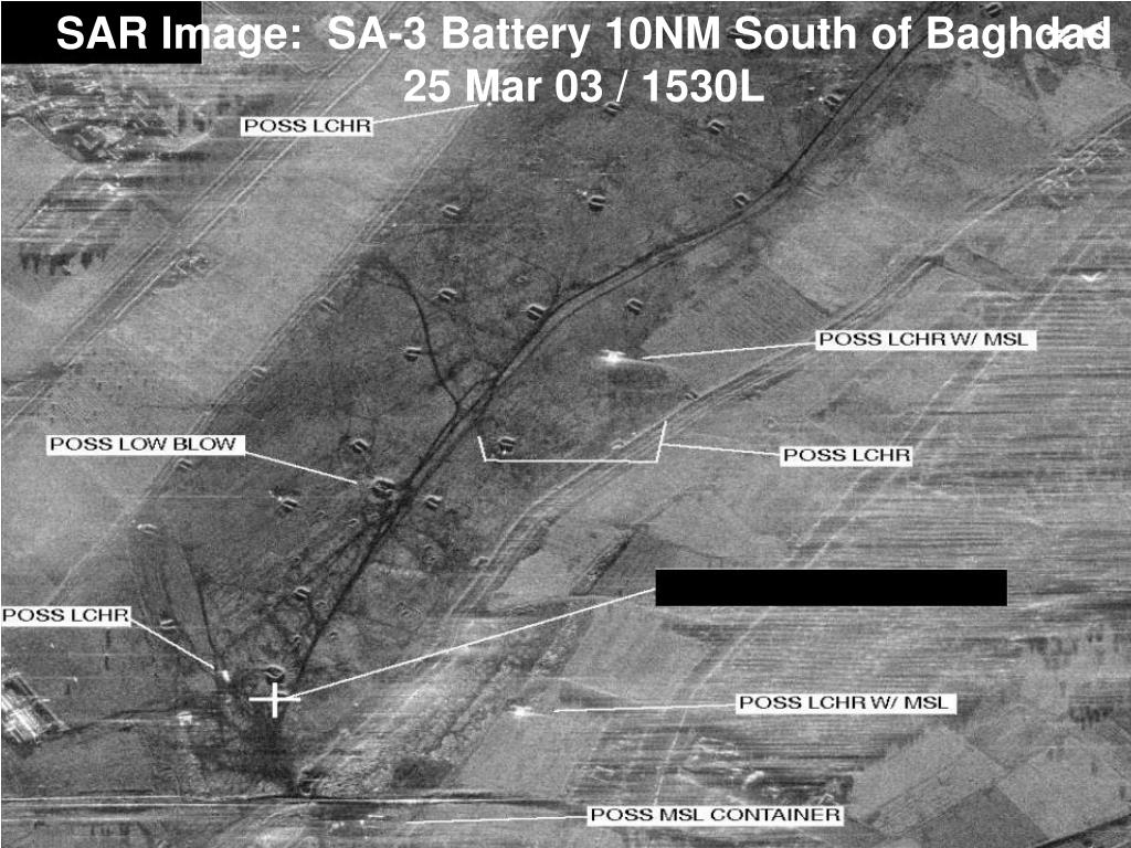 SAR Image:  SA-3 Battery 10NM South of Baghdad    25 Mar 03 / 1530L