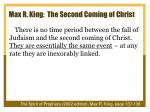 max r king the second coming of christ