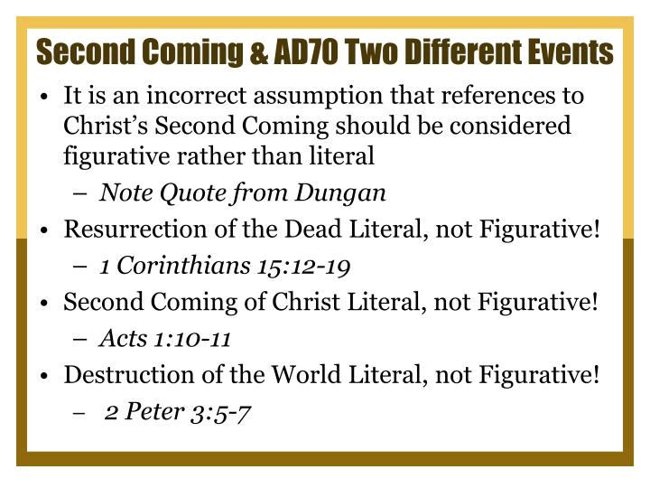 Second Coming & AD70 Two Different Events