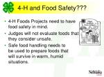 4 h and food safety