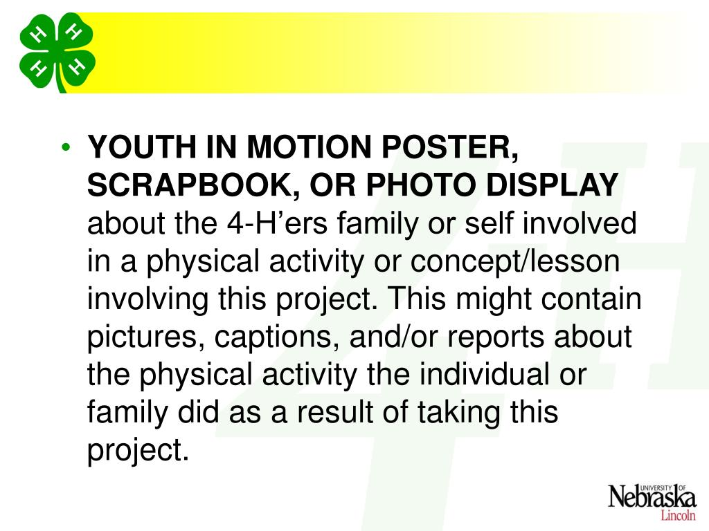 YOUTH IN MOTION POSTER, SCRAPBOOK, OR PHOTO DISPLAY