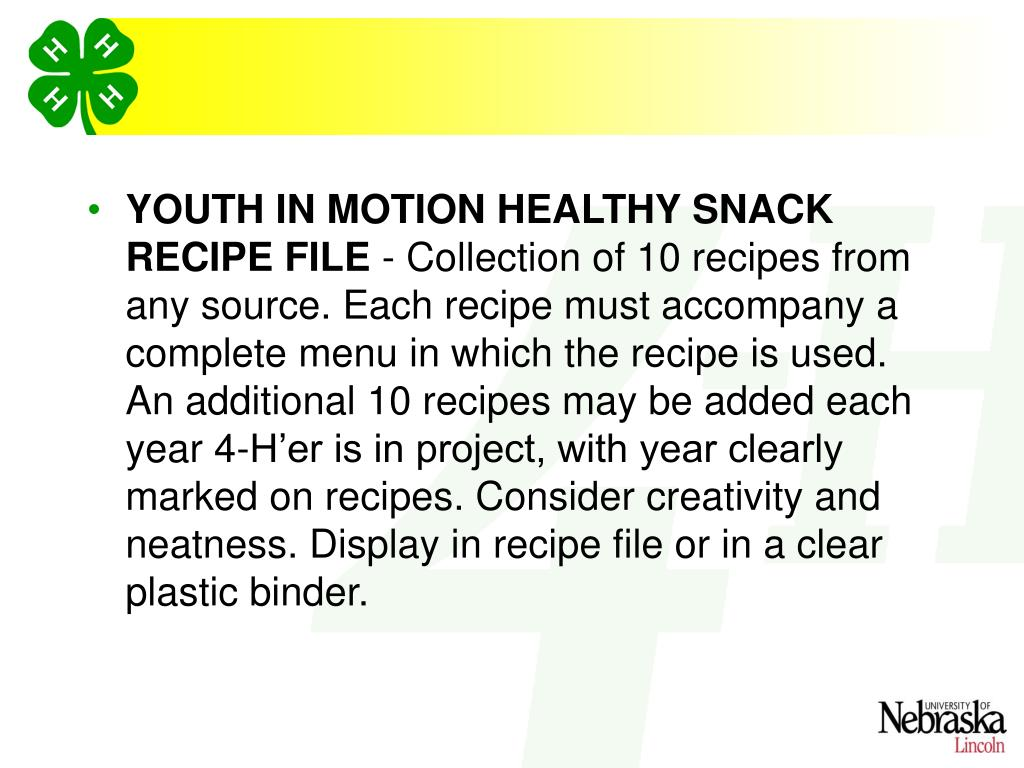 YOUTH IN MOTION HEALTHY SNACK RECIPE FILE
