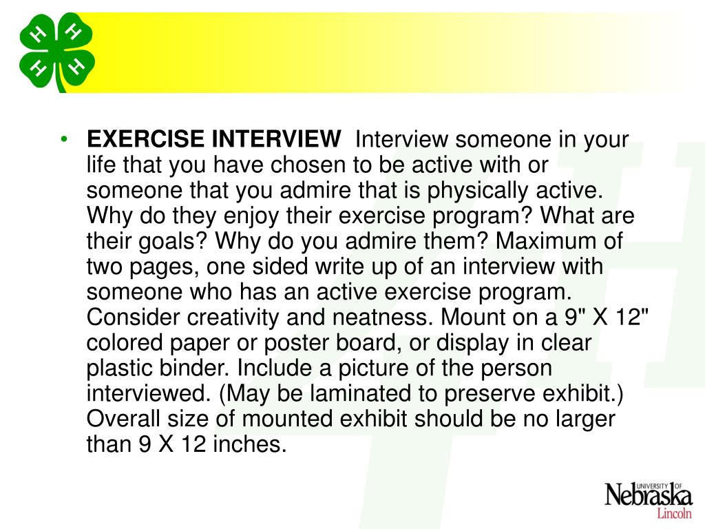 EXERCISE INTERVIEW