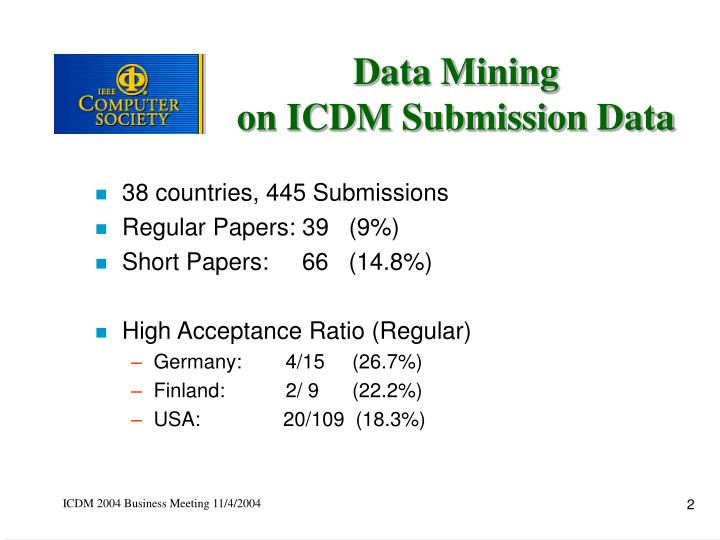 Data mining on icdm submission data1