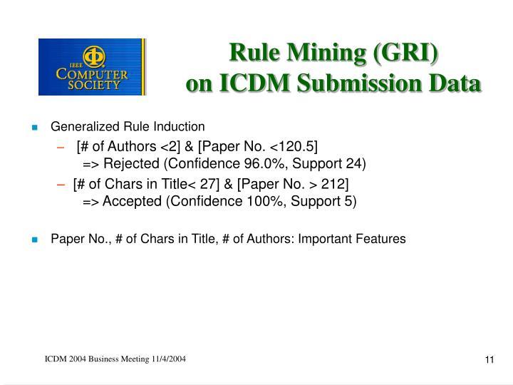 Rule Mining (GRI)