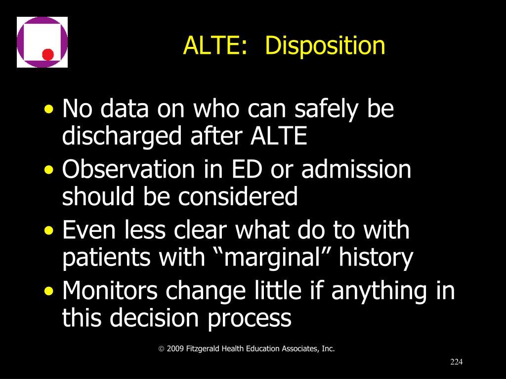 ALTE:  Disposition