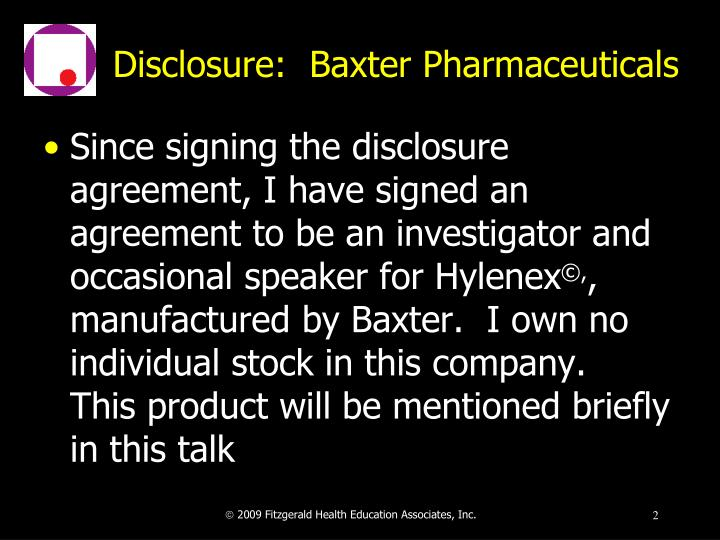 Disclosure baxter pharmaceuticals