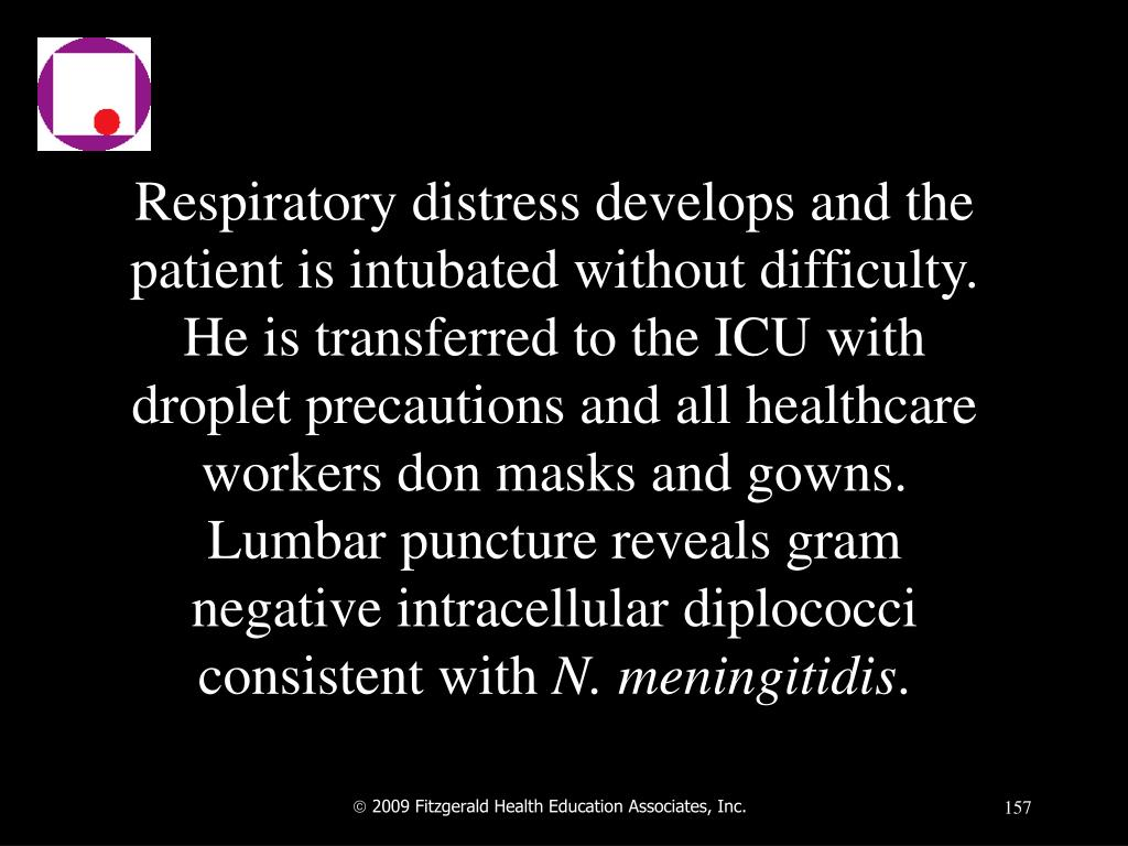 Respiratory distress develops and the patient is intubated without difficulty.  He is transferred to the ICU with droplet precautions and all healthcare workers don masks and gowns.  Lumbar puncture reveals gram negative intracellular diplococci consistent with