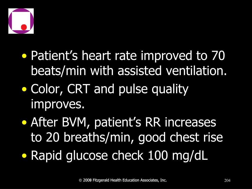 Patient's heart rate improved to 70 beats/min with assisted ventilation.
