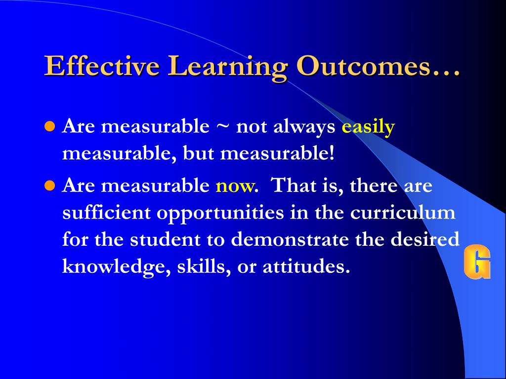 Effective Learning Outcomes…