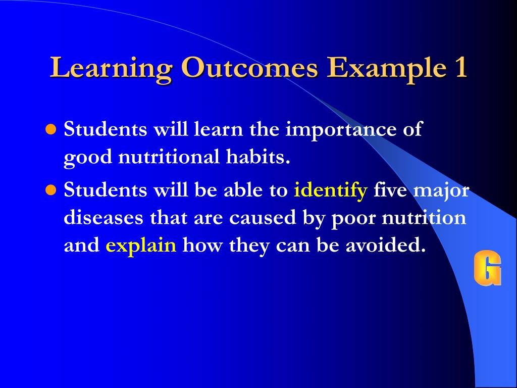 Learning Outcomes Example 1