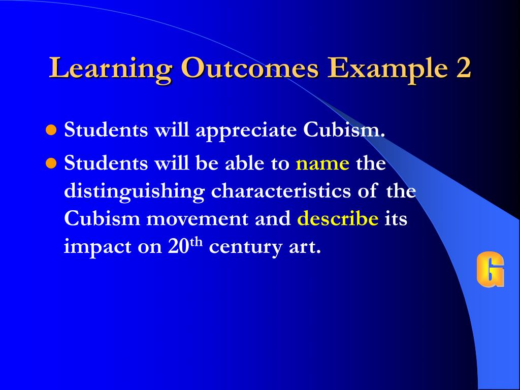 Learning Outcomes Example 2