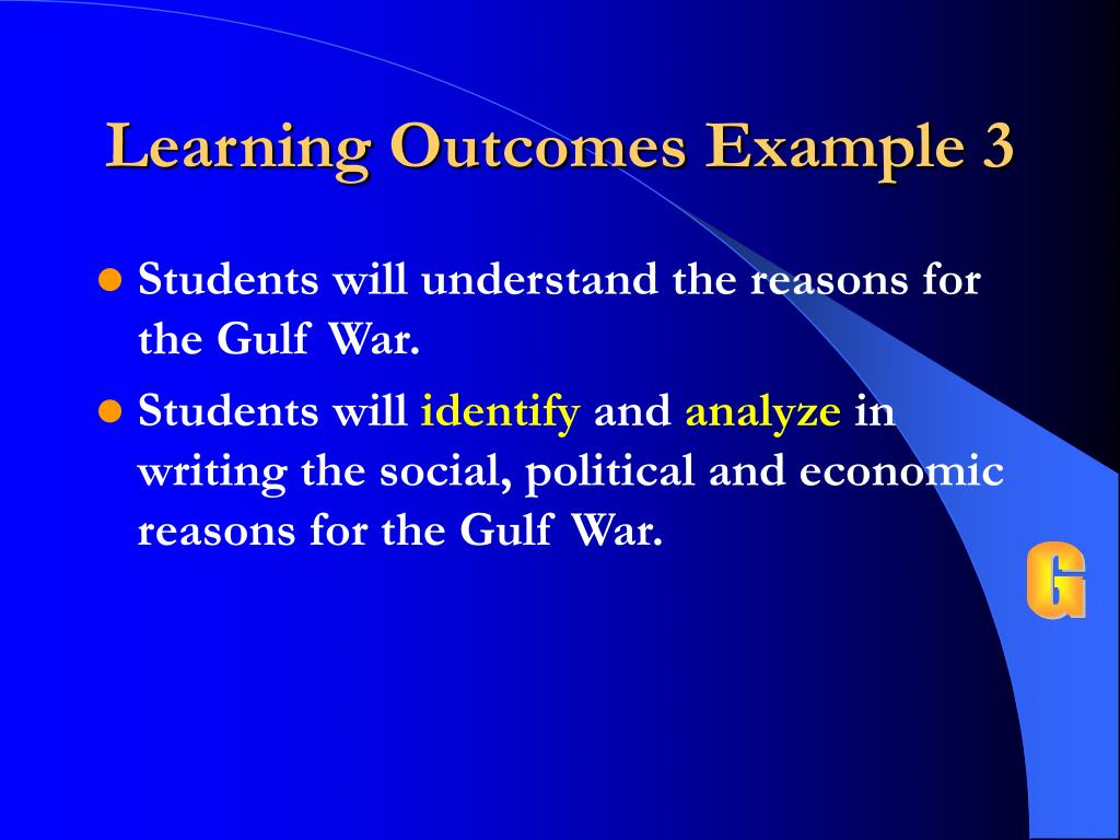 Learning Outcomes Example 3