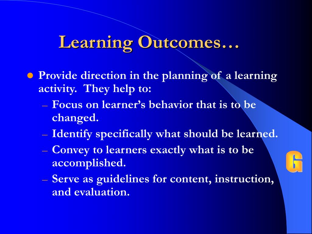Learning Outcomes…