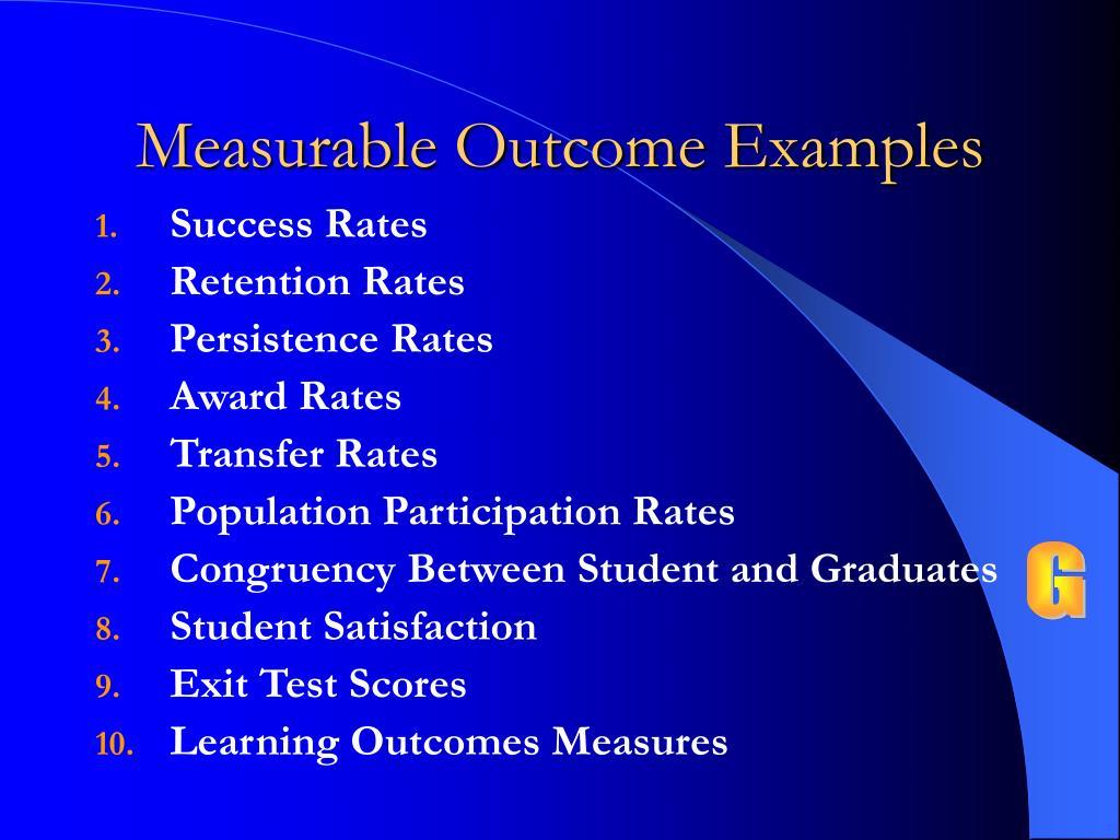 Measurable Outcome Examples