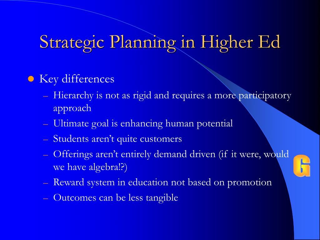 Strategic Planning in Higher Ed