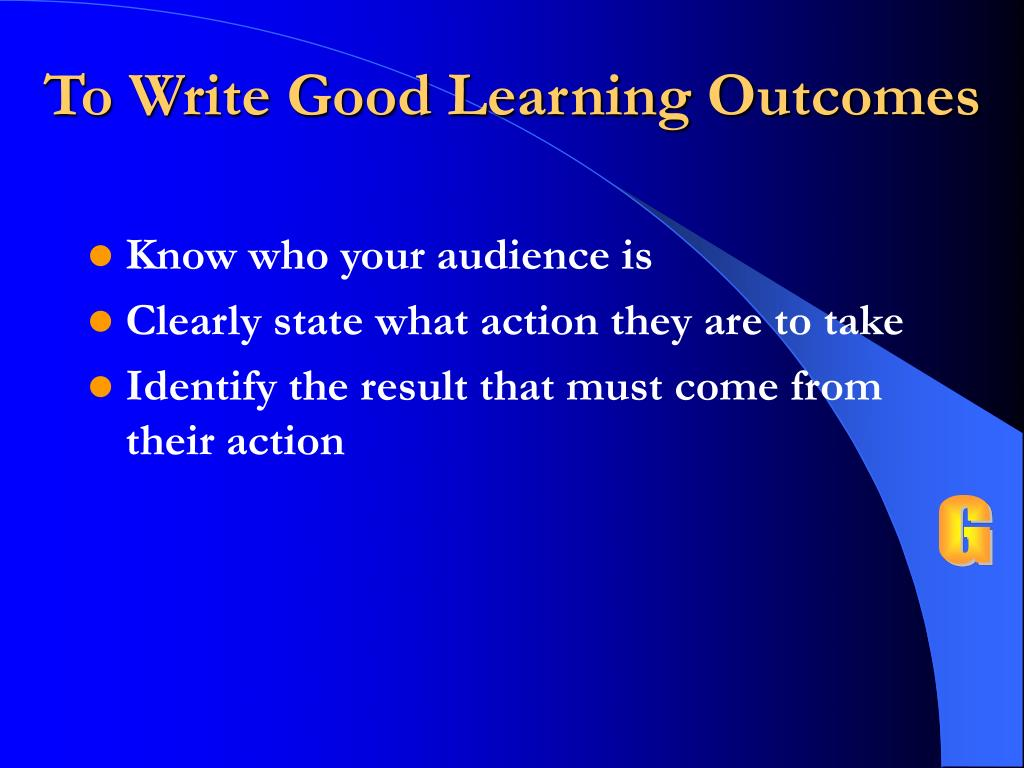 To Write Good Learning Outcomes