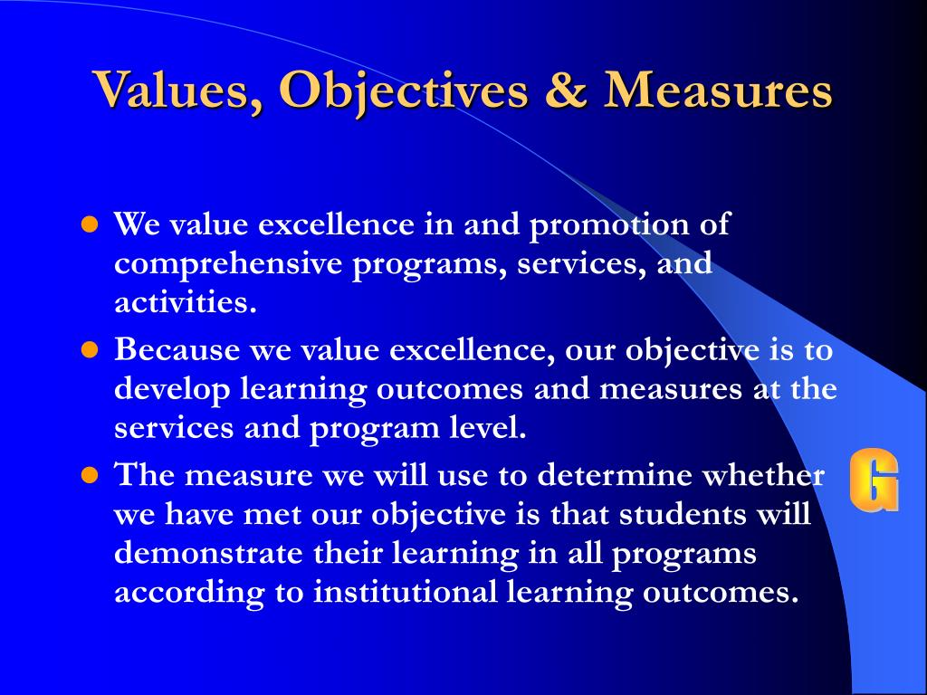 Values, Objectives & Measures