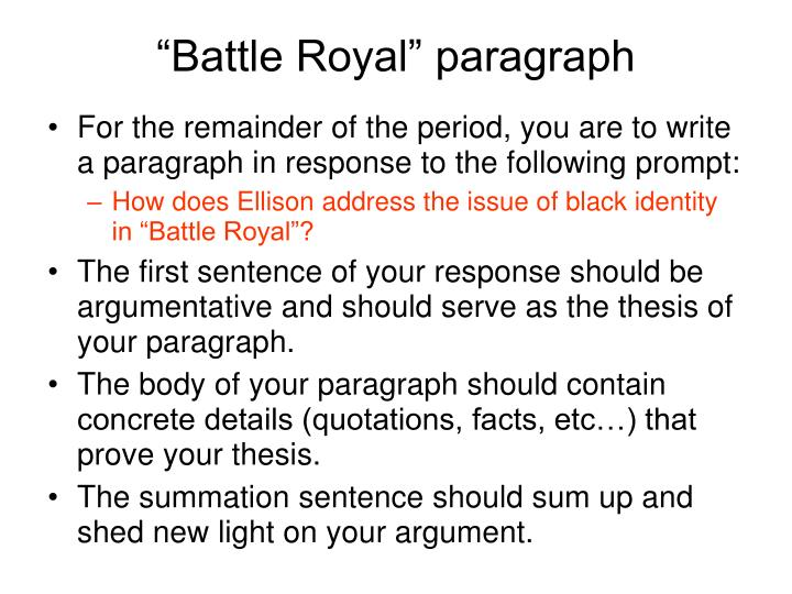an analysis of battle royal by ralph ellison