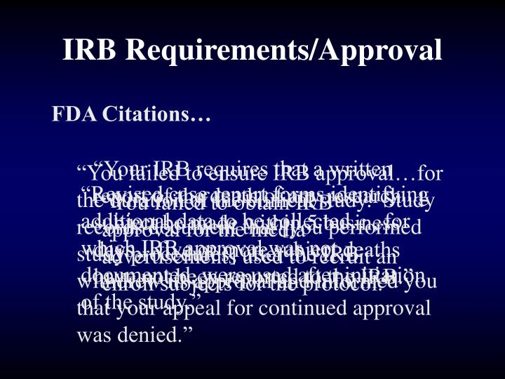 IRB Requirements/Approval