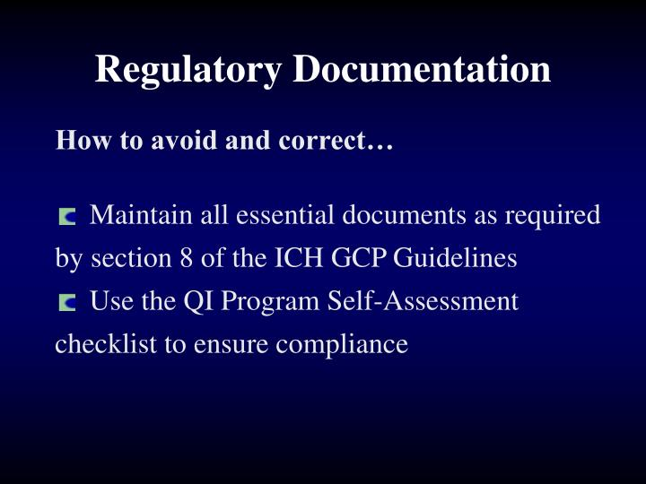 Regulatory Documentation