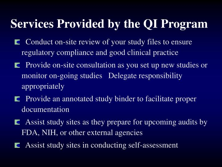 Services Provided by the QI Program