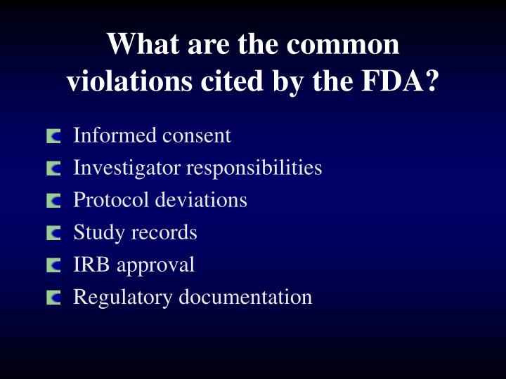 What are the common violations cited by the FDA?