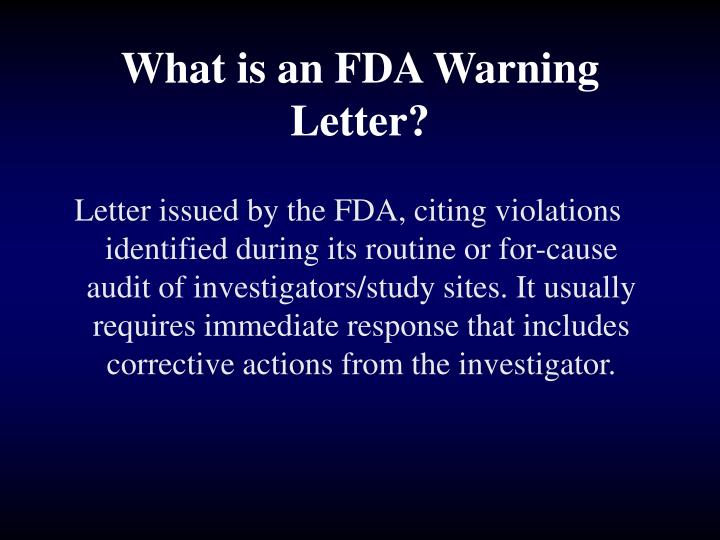What is an FDA Warning Letter?