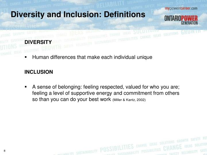 Diversity and Inclusion: Definitions