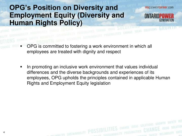 OPG's Position on Diversity and Employment Equity (Diversity and Human Rights Policy)