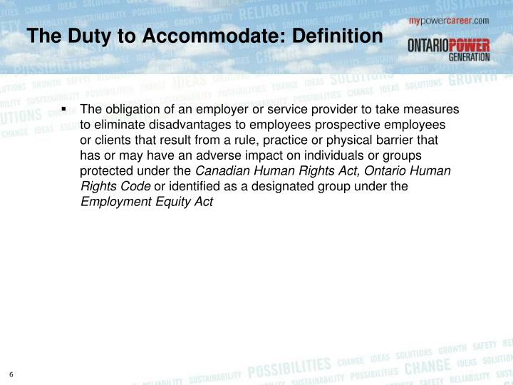 The Duty to Accommodate: Definition