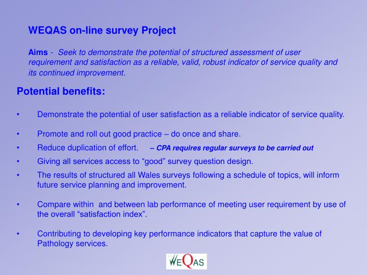 WEQAS on-line survey Project