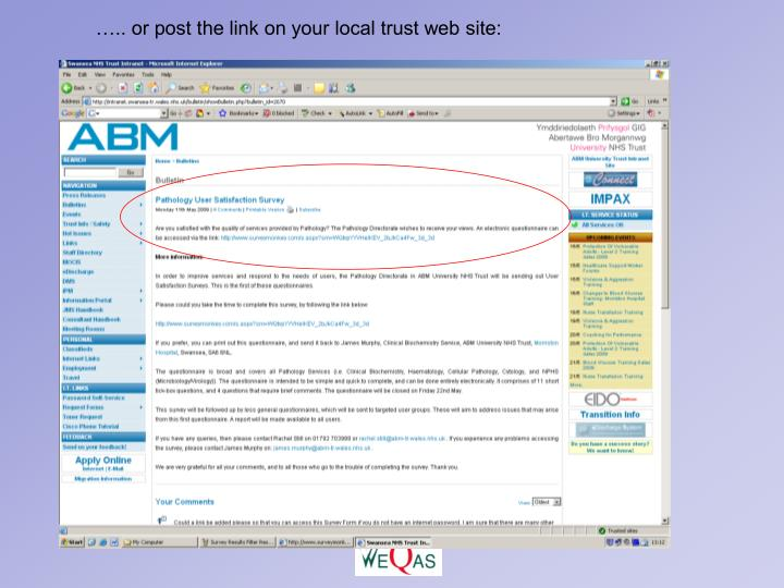 ….. or post the link on your local trust web site:
