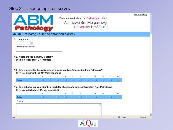 Step 2 – User completes survey