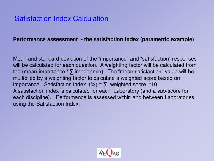 Satisfaction Index Calculation