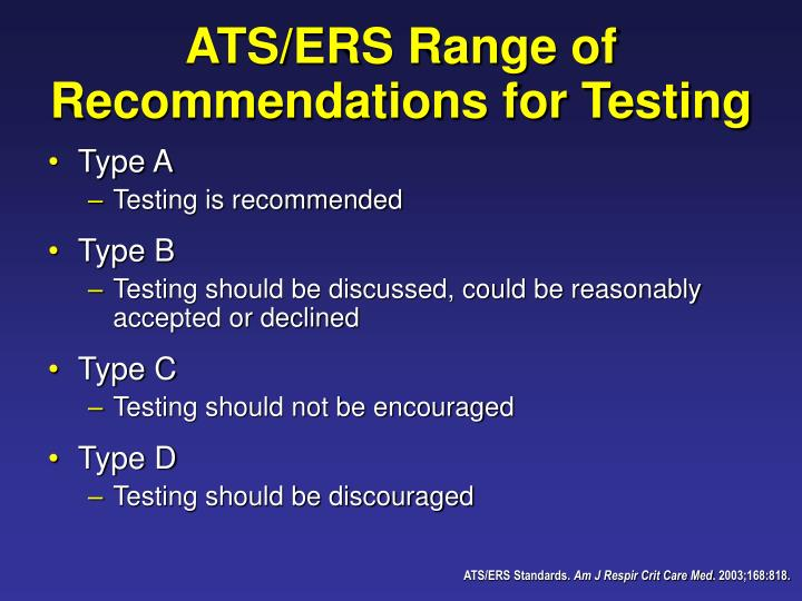 ATS/ERS Range of Recommendations for Testing