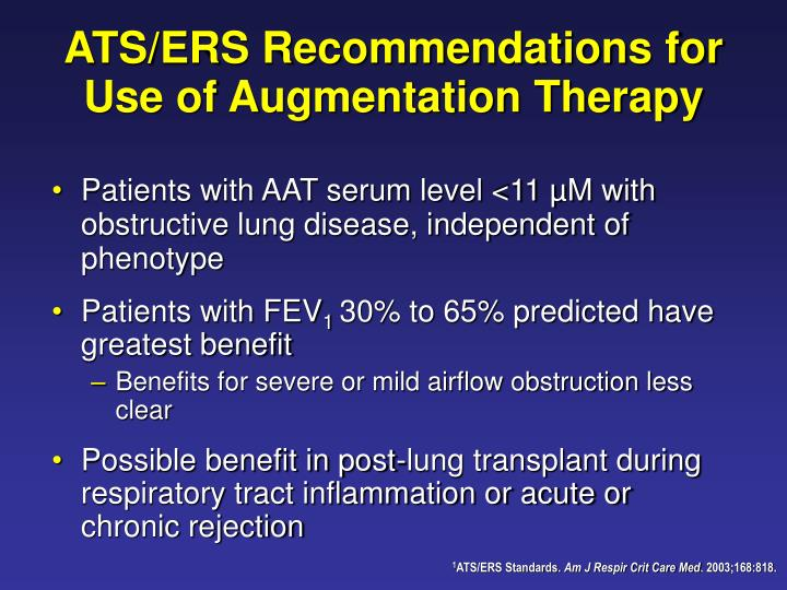ATS/ERS Recommendations for Use of Augmentation Therapy