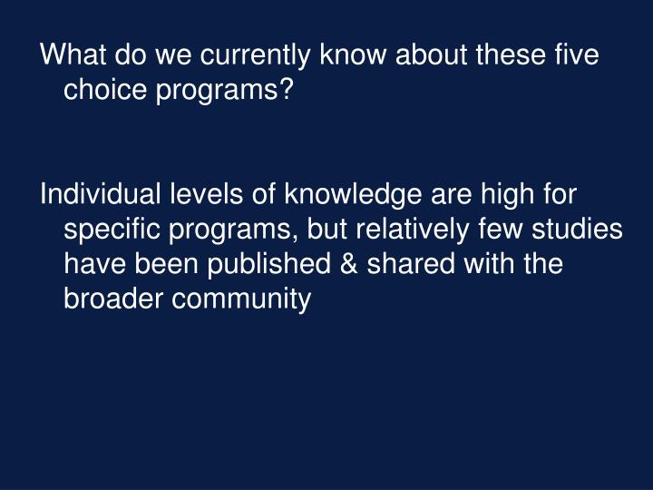 What do we currently know about these five choice programs?