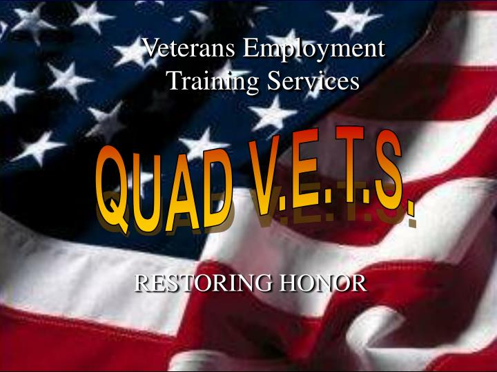 Veterans employment training services