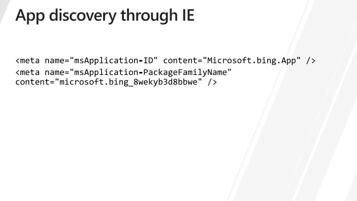 App discovery through IE