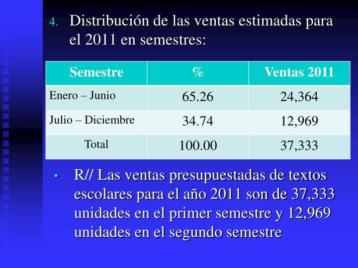 R// Las ventas presupuestadas de textos escolares para el año 2011 son de 37,333 unidades en el primer semestre y 12,969 unidades en el segundo semestre